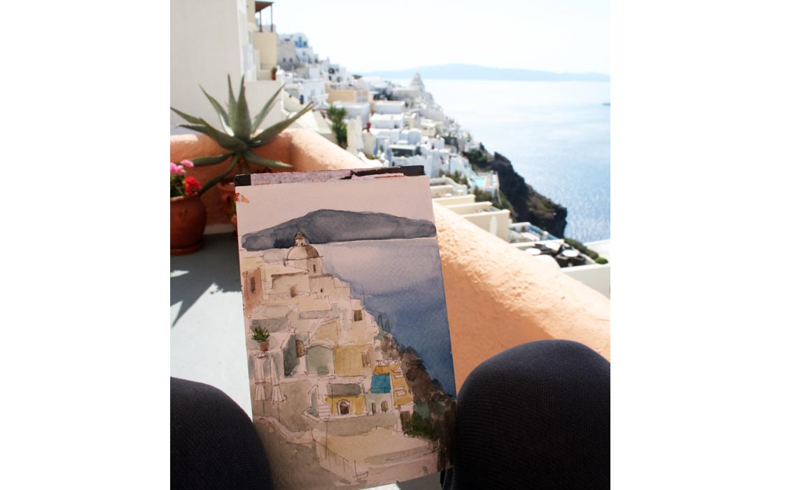 Photo and sketch of Thira, Santorini
