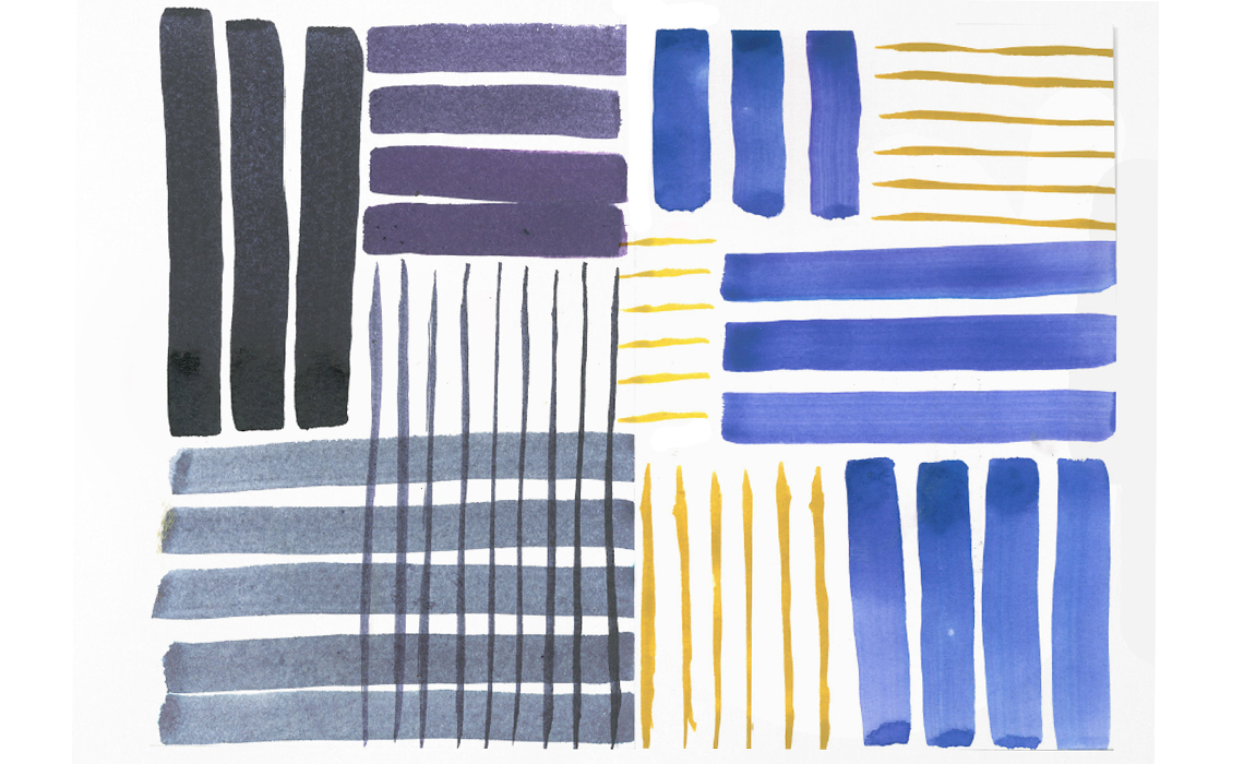 Pattern Painting by Holly-Anne Rolfe Blue and Yellow Stripe composition