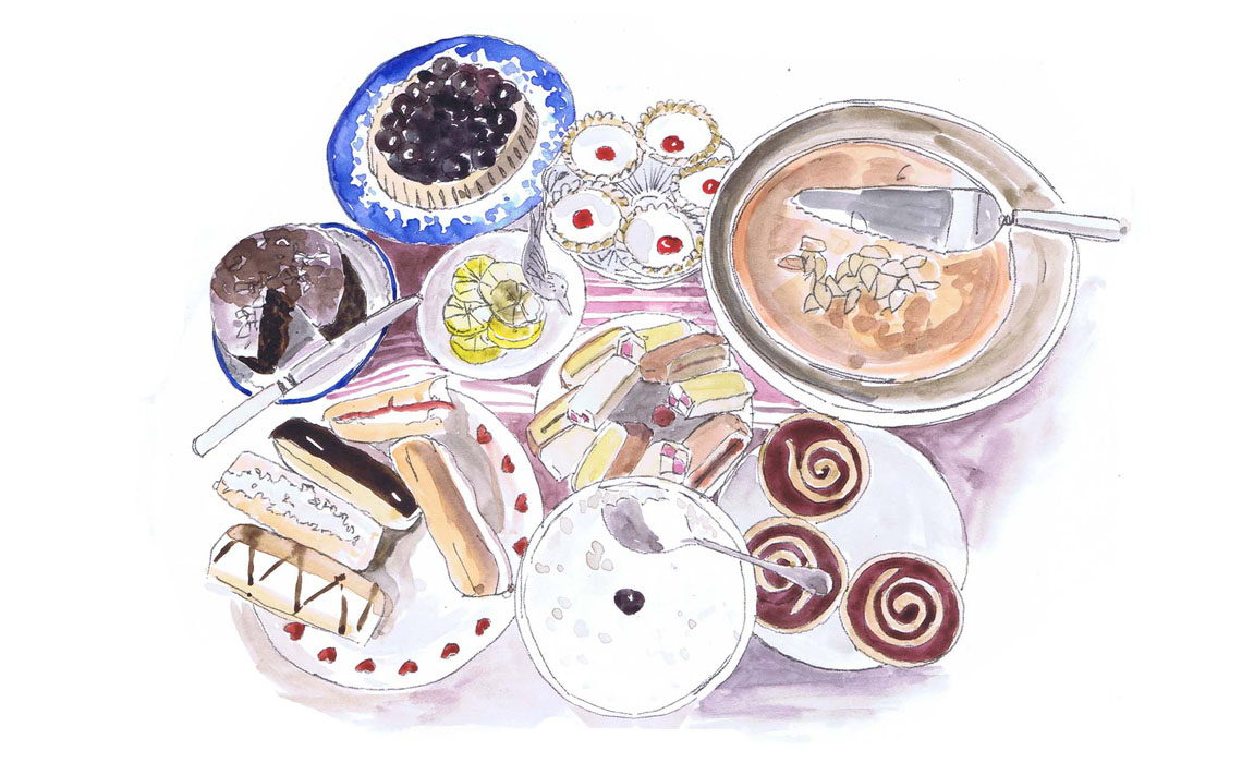 Watercolour illustration of cakes and afternoon tea by Holly-Anne Rolfe