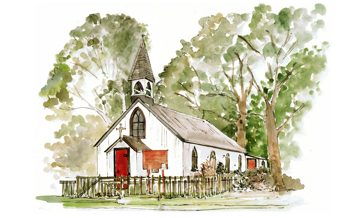 Watercolour illustration of St George's Church, West End, Esher by Holly-Anne Rolfe