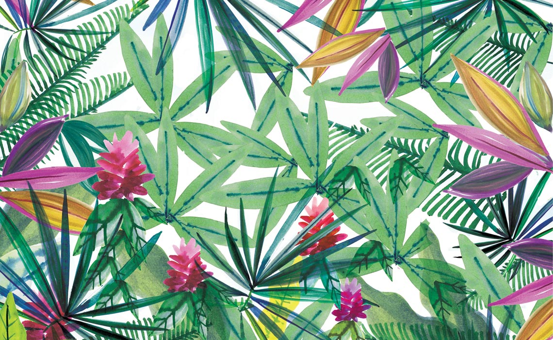 Lush painted jungle mural - gouache, watercolour and collage by Holly-Anne Rolfe