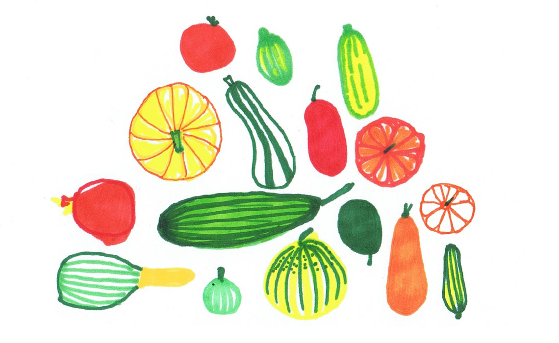 Felt tip illustrations of vegetables