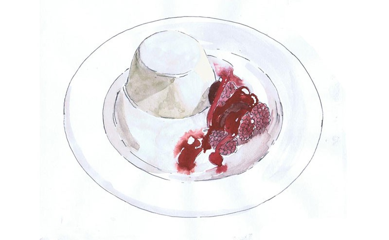 watercolour illustration of a blancmange and raspberries